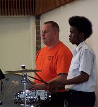 Bernie Dake (left) and James Williams during the afternoon rehearsal