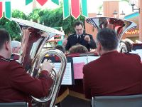Bandmaster Anderson seen through the tuba section