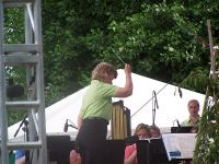 Anita Cocker-Hunt conducts the Athena Brass Band