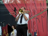 Stephen Bulla plays trombone solo during 'Since Jesus'
