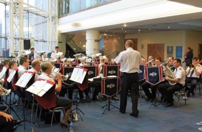 Birmingham Citadel Band (Bandmaster Gavin Lamplough) plays in the foyer of Birmingham Symphony Hall prior to the British Open 2016.