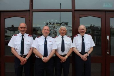 Present and past bandmasters of Belfast Temple. Left to right: Jack Burch (1989-present), David Catherwood (1979-1989), David Magookin (1972-1979), and Jim Burch(1962-1963, 1965-1967).