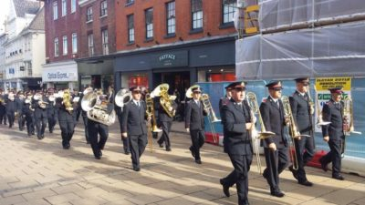 Combined bands from Boscombe and Norwich Citadel march through Norwich, 23 October 2016