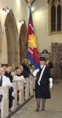 Morriston Songsters flag is brought down the nave of St. Mary's Church, Tenby, 22 October 2016