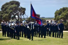 The Melbourne Staff Band marching at the Torquay foreshore, November 2018